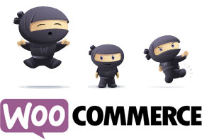 Image of WordPress shopping cart plugin, WooCommerce with Ninjas logo.